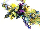 Reserved, Floral Chic Collection, Blue-Purple Fairy garden, One of a kind Couture Rhinestone Necklace by Monikque