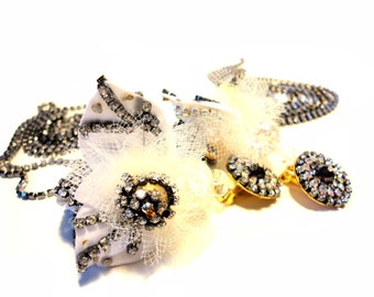 Elegant and sassy, Antique silver, AB crystal, gold, white, Barock collection, Couture jewelry by Monikque