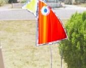 suncatcher bird orange glass folk art