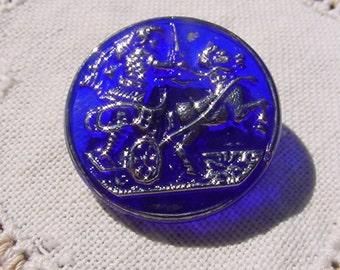Cobalt Silver Chariot Rider Czech Glass Button