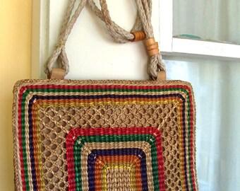 Vintage Multi Colored Woven Straw Handbag Purse Over the Shoulder Bag