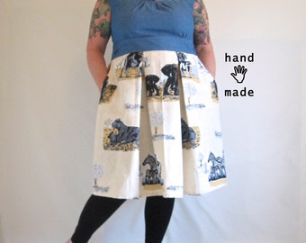 Adventure Dress - safari + denim blue, plus size, size 22, 2X 3X, fit & flare, pockets, indie designer sample -- 48B-43W-60H