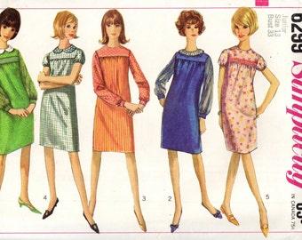 Simplicity 6299 Mock SMOCKED YOKE Shift Dress VINTAGE 1960s  ©1965