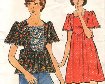 Butterick 3827 Dress or Top with FRONT INSET circa 1970s