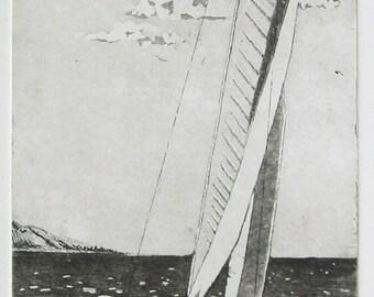 Etching Aquatint, Sailboat, Landscape