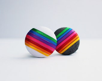 Rainbow Ribbon Button Hair Tie (2 Color Options) - Oversized Dupioni Silk Ponytail Holder - Hair Candy by Gazzu
