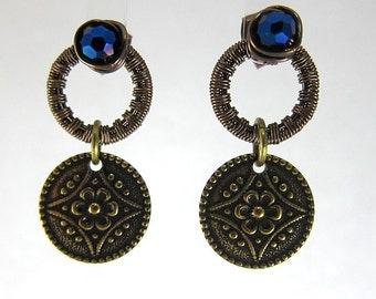 Flower Hoop Earrings, Blue Hoop Earrings, Dangle Blue Flower Earrings,  Blue Art Deco Earrings, Blue Floral Earrings, Hoop Stud Earrings