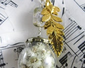 forest collection: white wildflowers, gold plated fern leaf, ocean jasper and sterling silver necklace