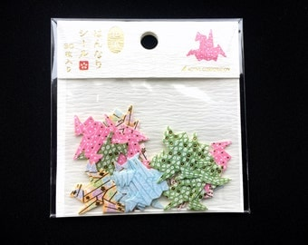 Origami Crane Stickers - Traditional Japanese Stickers - Crane Stickers - Chiyogami Stickers - Washi Paper Stickers S216