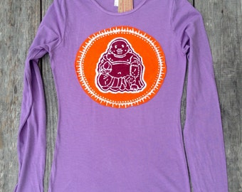 Laughing Buddha bio organic t shirt batik applique long sleeved - yoga clothes - tops and tees - blackberry gray sizes XS, S, M, L, XL