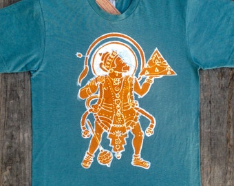 Hanuman yoga festival men t shirt, Mens Clothing, meditation shirt, organic cotton batik hand dyed teal green hand drawn hand painted 3xl