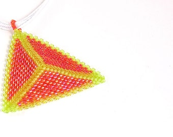 Beaded Triangle Necklace - Orange and Yellow, Seed Beads, Beadwork
