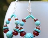 Southwest Hoop Earrings, Turquoise,Carnelian, Silver Hoop Earrings, Sterling Silver Earrings, Boho Rustic Tribal Hoop Earrings, Gift Box