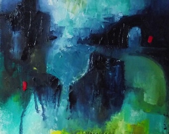 Small abstract oil painting on canvas paper, blue, green, 12 x 10 inches