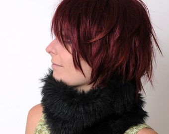 Black Faux Fur Cowl / Neckwarmer/  Tube scarf