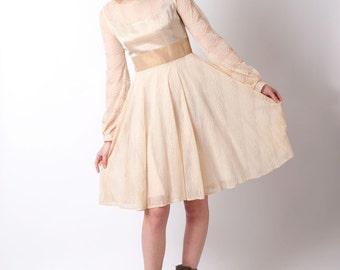 Beige lace dress, Short beige mesh dress, Womens cream dress, Short wedding dress, Womens sheer dress