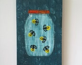 Catching Fireflies | Mixed Media Art on Wood