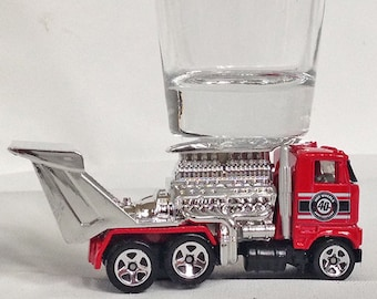 the Original Hot Shot shot glass, Highway Hauler, Racing Truck, HW City Hot Wheel Car