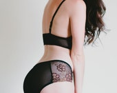 SALE Sheer Mesh Retro Panty - Richly Embroidered Black and Brown 'Senna' Panties - Custom Fit Made To Order Womens Lingerie