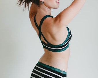 Organic Cotton / Lycra Panties - Black and White Stripe with Teal Lace 'Morning Glory' Panty - Women's Lingerie