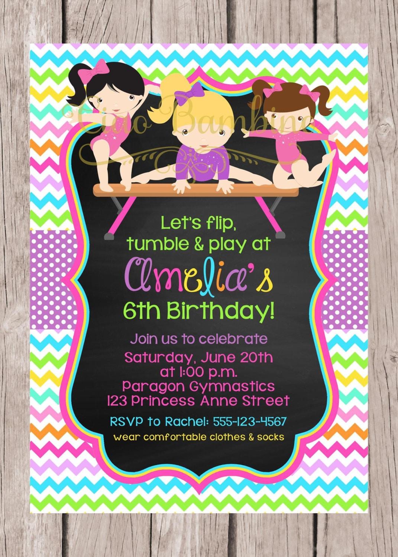 Printable Gymnastics Birthday Party Invitation By