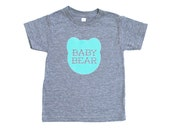 Baby Bear Kid's Heather Grey Triblend TShirt with Aqua Blue Print