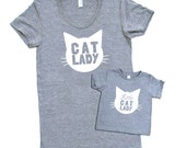 Cat Lady and Little Cat Lady Matching Set - Triblend Heather Grey with White Print - Baby Infant and Toddler Kids Sizes