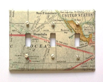 Triple Light Switch Plate Cover, wall decor - Vintage Map