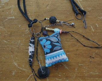 Blue Flower - Kantha AMULET Necklace - Urban Gypsy Talisman Protective Jewelry