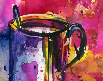 "Coffee Cup painting, Colorful Abstract Coffee watercolor art, Original ooak painting ""Coffee Dreams 7""  by Kathy Morton Stanion  EBSQ"