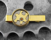 Steampunk Puzzle Piece Golden Tie Clip Money Clip - Solving the Puzzle of Time by COGnitive Creations