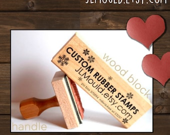 1x2 or 2x1 Custom Personalized Modern Red Rubber Stamp mounted Wood Block with or without Handle JLMould Art Logo Image Wedding Invitations