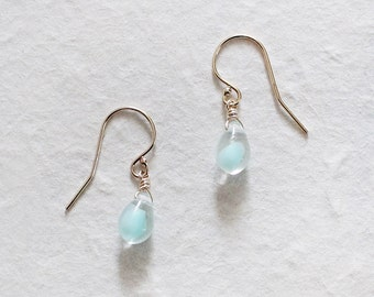"blue teardrop earrings - simple drop bead earrings - ""colette"" handmade earrings by elephantine"