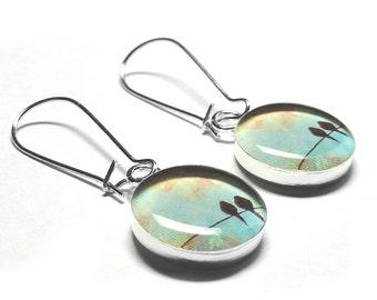 Bird on a Wire Earrings, Dangle Earrings, Resin Jewelry, Handmade, Blue, Black Crow, Raven, Handmade Jewelry, Resin Earrings, Resin Jewelry