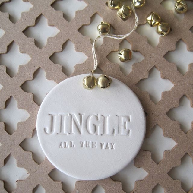 Jingle all the way ornament with text and gold bells by - Ornament tapete weiay ...