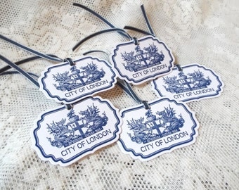 City of London Crest Coat of Arms Tags, British English Heraldry, Navy Blue Tags for party favors, Set of 5, England, Grean Britain Heritage