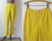 Bell Bottoms 60s Lace Up Pants Lemon Yellow Flared Pants 1960s Pants