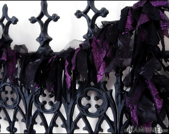 Black Orchid Boa by Kambriel - Black & Metallic Purple Fabric Boa - Vegan Neck Wrap Scarf - Brand New and Ready to Ship!