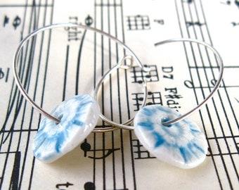 porcelain earrings - silver hoops & turquoise discs - handmade ceramics