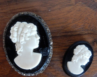 Pair of Reclaimed Vintage Black and White Cameos