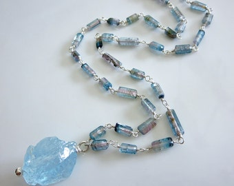 Raw-Indicolite Bi Color Tourmaline Crystals-33ct Natural Blue Topaz Nugget Pendant-Sterling Silver Unisex Necklace