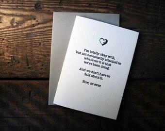 Letterpress (un)Valentine Card - Now or Ever - Single