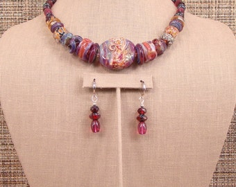 Crimson - OOAK Multi Colored and Textured Borosilicate, Chez Crystal, Glass and Bali Silver Necklace with Earrings.