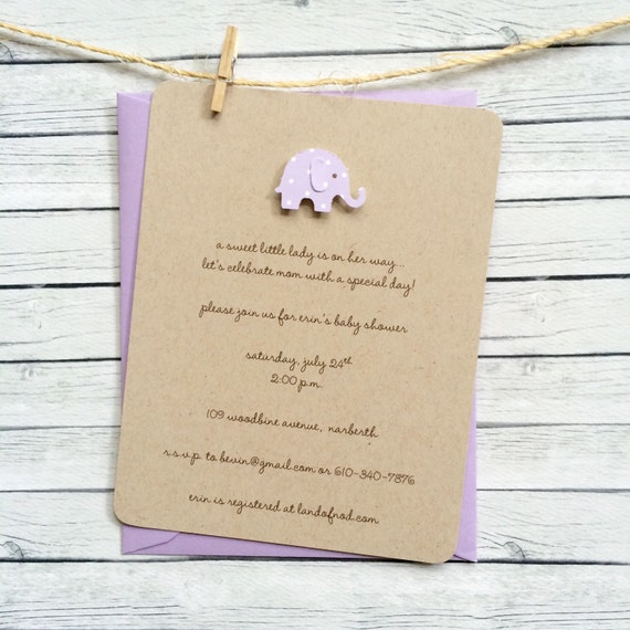 Lilac Baby Shower Invitation - Elephant