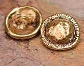 Gold Bronze Sculpted Artisan Button Clasp with Rustic Edge, AD91