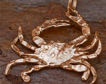 Rustic Blue Crab in Golden Bronze Pendant