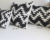 Black and White Aztec Design Decorative Throw Pillow - Hand Dyed and Hand Printed Cushion - Cream and Black Pillow