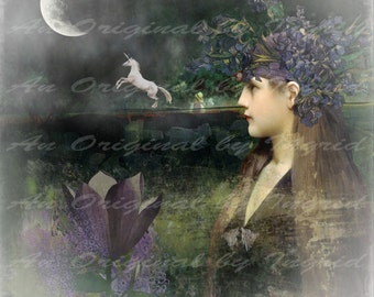 Moonlight at Midnight Digital Collage Greeting Card (Suitable for Framing)