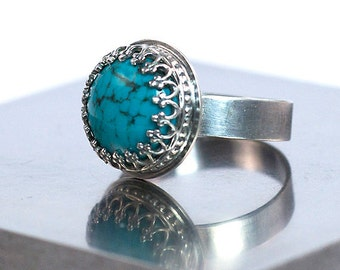 Turquoise Silver Ring, Oxidized Sterling Silver, US Size 7.5, Ready to Ship