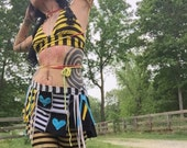 Body Candy Arm Warmers - Crochet One Long Sleeve, Warrior Pirate Sleeve, Tribal Belly Dance, Gothic Lolita, Punk Rock, yellow red green